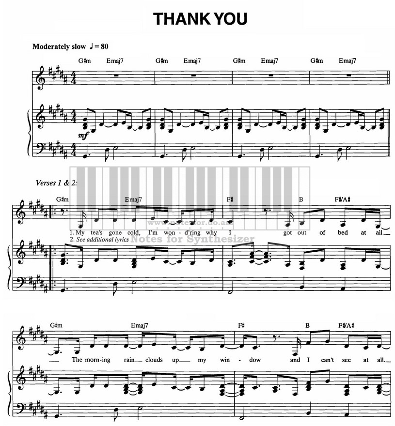 Thank You Dido Dido D Sheet Music Notes For Synthesizer