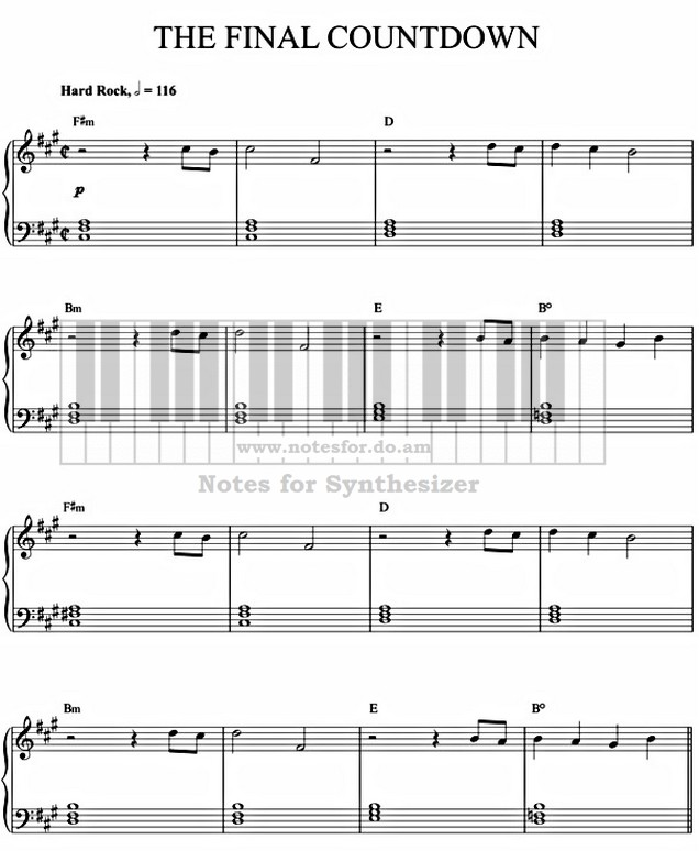 The Final Countdown Europe Europe E Sheet Music Notes For